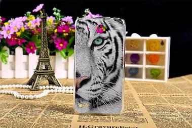 Чехол силиконовый бампер для Lenovo S920 с рисунком белый тигр
