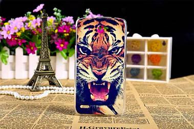 Чехол силиконовый бампер для Lenovo S920 с рисунком оскал тигра