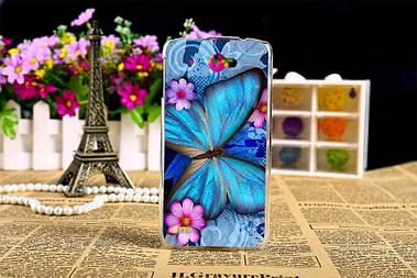 Чехол силиконовый бампер для Lenovo S920 с рисунком синяя бабочка
