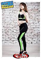 Лосины для фитнеса Real Sport FS220005-BL, черно-салатовые