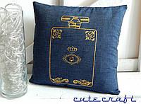 Подушка с декоративной наволочкой handmade из джинсовой ткани