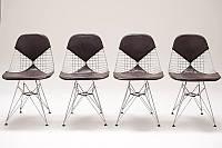 Стул Майя каркас хромированный, сиденье и спинка кожзам черный, 48*49*85, высота сиденья 42см