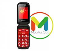 Кнопочный мобильный телефон-раскладушка BRAVIS Clamp red, Бабушкофон, крупный шрифт, SOS, фото 1