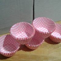 """Бумажная форма для выпечки кексов  """"Розовый горошек"""""""