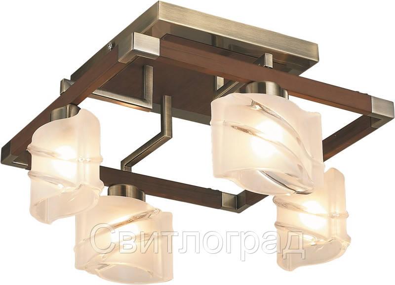 Люстра с Плафонами   Светильник Потолочный Altalusse INL-9164C-4 Amber & Walnut