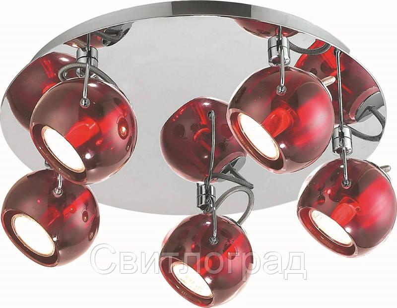 Люстра с Плафонами   Светильник Потолочный Altalusse INL-9193C-05 Chrome & Red Crystal Shade