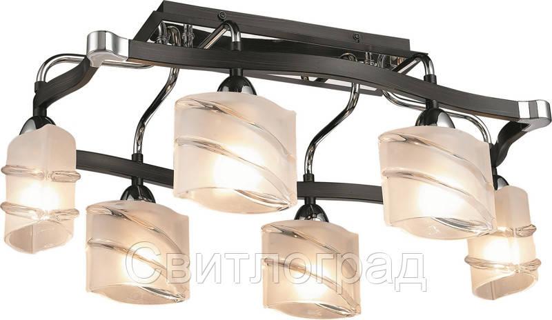 Люстра с Плафонами   Светильник Потолочный Altalusse INL-9254C-06 Chrome & Dark Wengue