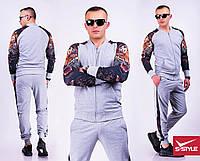 Мужской спортивный костюм рукава Тигр серый