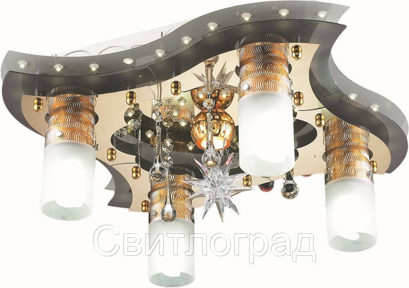 Светильник Потолочный с Led Подсветкой  с Плафонами  Altalusse LV202-05 White & Gold