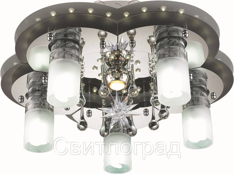 Светильник Потолочный с Led Подсветкой  с Плафонами  Altalusse LV203-06 White & Chrome