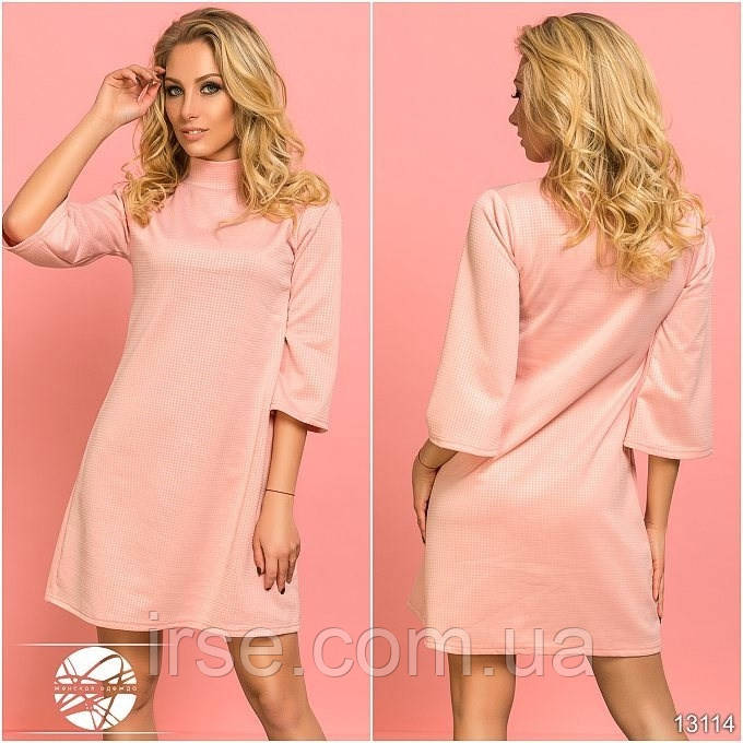 62fe0a416be Женское весеннее платье розового цвета с рукавом три четверти. Модель 13114.