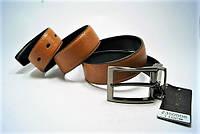 Ремень мужской кожаный двухсторонний. Ремень брючный классический ALON