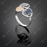 Серебряное кольцо с сапфиром и фианитами. Артикул П-397