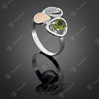 Серебряное кольцо с хризолитом и фианитами. Артикул П-397
