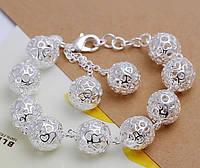 """Оригинальный женский браслет с серебрянными шариками """"Пепион"""""""