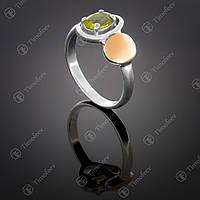 Серебряное кольцо с хризолитом. Артикул П-399