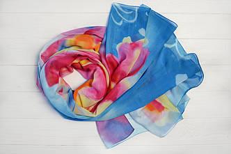 Шарф Молли цветы синий
