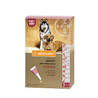 Капли для веса 10-25кг от блох клещей глистов для собак Адвокат Байер Advocate Bayer