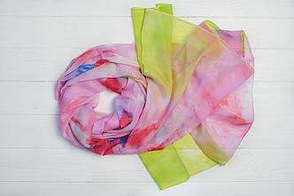 Шарф Молли цветы салатовый