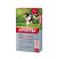 Капли для веса 10-25кг от блох, клещей, комаров для собак Адвантикс Байер Advantix Bayer