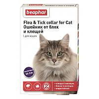 Ошейник 35 см на 6 месяцев от блох и клещей для кошек, фиолетовый, Беафар