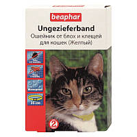 Ошейник от блох и клещей 35 см, 6 месяцев, для кошек, желтый, Беафар