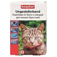 Ошейник от блох и клещей 35 см, 6 месяцев, для кошек, красный, Беафар