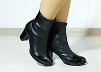 Полусапожки кожаные женские на маленьком каблуке