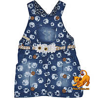 """Красивый детский джинсовый сарафан """"Spring & Flowers"""" для девочек от 2-5 лет"""