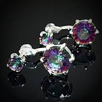 Серебряные серьги-пусеты 2-в-1 с цветными фианитами