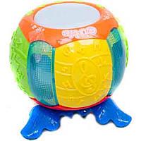 Музыкальная игрушка разв.барабан 0932 (24шт/2)батар,свет,звук,в кор.19*19*19см
