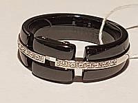 Срібне кільце з керамікою і фіанітами. Артикул К2ФК/1017 18,1, фото 1