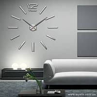 3D-Часы настенные большие с палочками (диаметр 0,8 м) серебристые [Пластик]