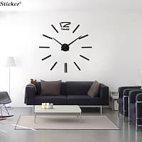 3D-Часы настенные большие с палочками (диаметр 0,8 м) черные [Пластик]