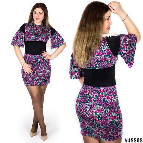 Платье в цветочек 48808 бирюзовый фон, большого размера, фото 2
