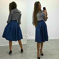 Юбка джинсовая пышная миди с карманами Udi55