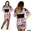 Платье в цветочек 48808 серый фон, большого размера