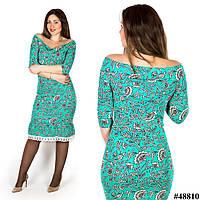 Бирюзовое платье веточки 48810, большого размера