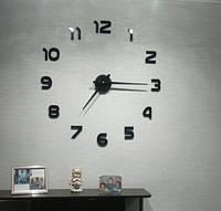 3Д-Часы настенные большие с арабскими цифрами (диаметр 0,8 м) черные [Пластик]