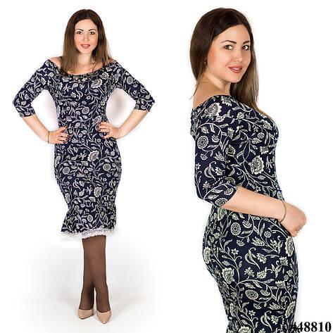 Темно-синее платье веточки 48810, большого размера, фото 2