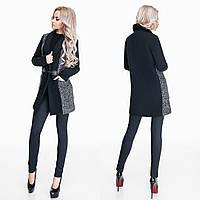 Женское пальто ткань кашемир букле на подкладке цвет черный