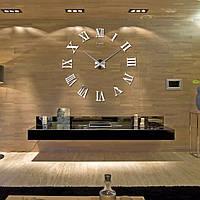 3Д-Часы настенные большие с римскими цифрами (диаметр 0,8 м) серебристые [Пластик]