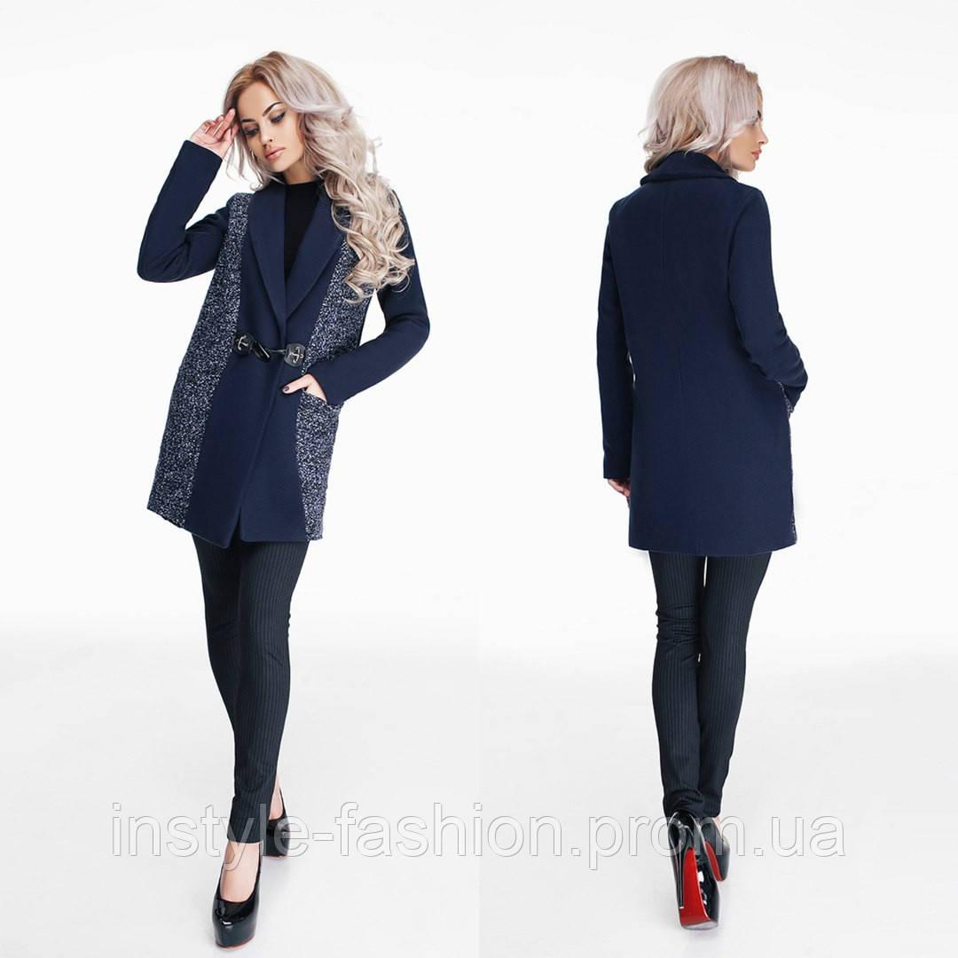 Женское пальто ткань кашемир букле на подкладке цвет темно-синий