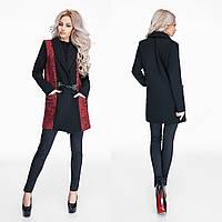 Женское пальто ткань кашемир букле на подкладке цвет черный с красным