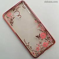 Чехол силиконовый с узором и стразами для Meizu M3E (розовое золото)