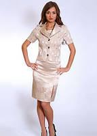 Женский  костюм тройка  Шанталь нарядный, классический  размеров  42, 44 ,46, 48  из атласа
