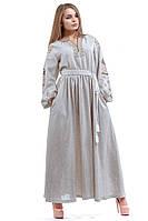 """Вышитое длинное платье с поясом """"Птицы"""""""