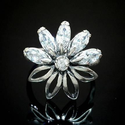 Серебряное кольцо в виде цветка с фианитами, 6 камней, фото 2