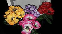 Тканевые цветной мак с тычинками, разные цвета, выс. 24 см., 40 шт. в упаковке, 5.46 гр., фото 1