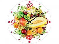 Часы настен.серия Кухня Фруктовая феерия стекло/кругл. 28см